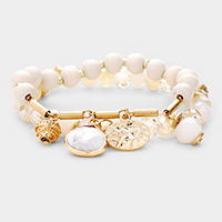 2PCS - Semi Precious Multi Charm Bead Stretch Layered Bracelets