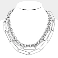 Multi Chain Layered Metal Necklace
