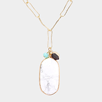 Semi Precious Pendant Chain Necklace