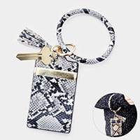 Snake Faux Leather Key Chain / Bracelet / Card Holder Wallet