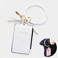 Faux Leather Tassel Key Chain / Bracelet / Pouch Bag