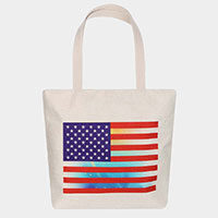 USA Flag Print Canvas Tote Eco Bag
