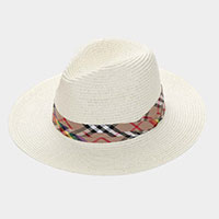 Check Scarf Woven Straw Summer Sun Fedora Hat