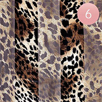 6PCS - Slik Feel Satin Stripe Leopard Pattern Scarfs