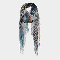 Leopard Snake and Zipper Abstract Pattern Print Scarf