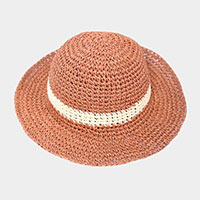 Weaved Straw Accent Brim Hat