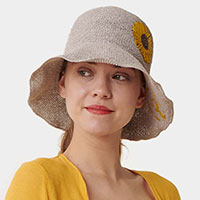 Sunflower Emb'd Straw Bucket Hat