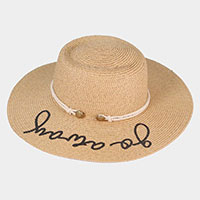 Verbiage Straw Accent Band Hat