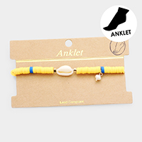 Disc Beaded Puka Shell Stretch Anklet