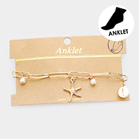 Starfish Puka Shell Pearl Chain Anklet