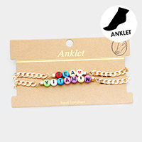 Vitamin Sea  Colorful Bead Chain Anklet