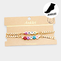 Cool Girl Colorful Bead Chain Anklet