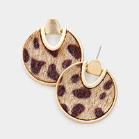 Leopard Faux Fur Metal Trim Earrings
