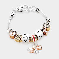 Playing Card Dice Charm Multi Bead Bracelet