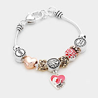 Love you Mom Charm Multi Bead Bracelet