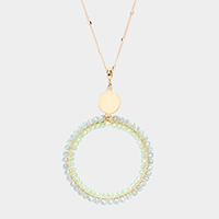Faceted Bead Open Circle Pendant Long Necklace