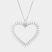 Open Heart Pendant Metal Long Necklace