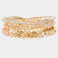6PCS - Faceted Bead Layered Stretch Bracelets