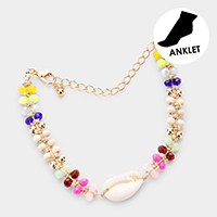 Colorful Beaded Puka Shell Anklet