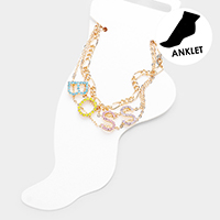 2PCS - Boss Colorful Rhinestone Pave Chain Layered Anklets
