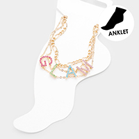 2PCS - Glam Colorful Rhinestone Pave Chain Layered Anklets