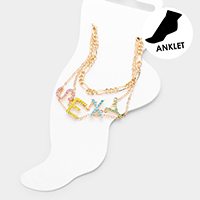 2PCS - Sexy Colorful Rhinestone Pave Chain Layered Anklets