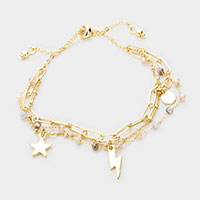 Star Moon Beaded Chain Adjustable Bracelet