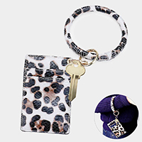 Leopard Faux Leather Key Chain / Bracelet / Card Holder Wallet