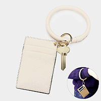 Faux Leather Key Chain / Bracelet / Card Holder Wallet