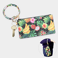 Tropical Leaf and Fruits Pattern Key Chain / Bracelet / Pouch Bag