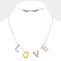 Colorful Rhinestone Love Collar Necklace