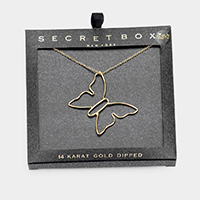 Secret_ Box - 14K Gold Dipped Butterfly Pendant Necklace