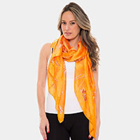 Silky Chain Pattern Oblong Scarf