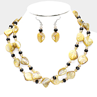 Natural Stone Faceted Bead Layered Necklace