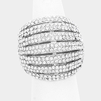 Crystal Rhinestone Pave Dome Stretch Ring