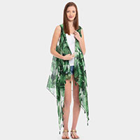 Tropical Leaves Tassel Vest