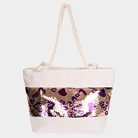 Sequin Love Heart Rope Tote Beach Bag