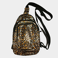 Leopard One Strap Crossbody Backpack