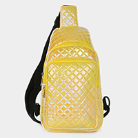 Iridescent Quilt One Strap Crossbody Backpack