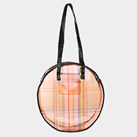 Rainbow Check Round Tote Bag