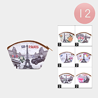 12PCS - Paris Theme Print Pouch Bags