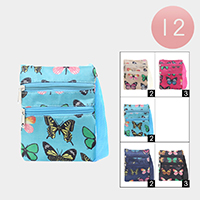 12PCS - Butterfly Pattern Zipper Cossbody Bags