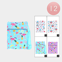 12PCS -Tropical Flamingo Pattern Zipper Cossbody Bags