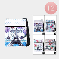 12PCS - Paris Print Zipper Cossbody Bags