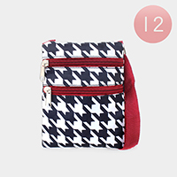 12PCS - Houndstooth Pattern Zipper Crossbody Bags