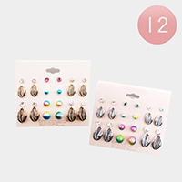 12 Set of 12 - Puka Shell Pearl Stud Earrings