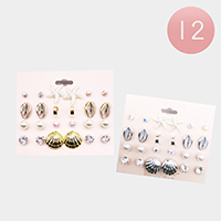 12 Set of 12 - Puka Shell Starfish Pearl Stud Earrings