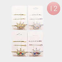 12 Set of 3 - Rhinestone Floral Crown Barrette / Bobby Pins