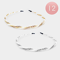 12PCS - Pearl Rhinestone Twist Headbands