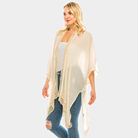 Knitted Trim Solid Color Kimono Poncho